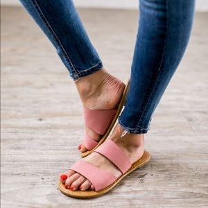 Shoes - Are We There Yet Pink Double Strap Sandals
